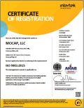 ISO 9001-2008 Certificate of Registration, MOCAP Park Hills, MO and Farmington, MO