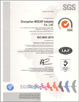 SGS ISO 9001-2015 Certificate of Registration, MOCAP Zhongshan, China